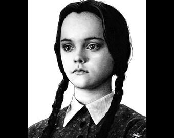 "Print 8x10"" - I Hate Everything - Wednesday Addams The Addams Family Christina Ricci Morticia Gomez Dark Art Horror Comedy Gothic Pop Art"