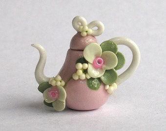 Handmade Miniature Shabby Blossom Teapot by C. Rohal
