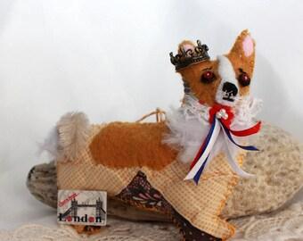 Her Royal Corginess - British Corgi Dog Quilty Critter - OOAK, Novelty, Folk Art, Queen, Ornament