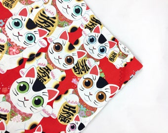 Lucky Cats Maneki-Neko Organic Catnip Mat Toy By For Mew, Refillable, Washable, Cat Bed, Cat Furniture, Gift For Cat Lovers