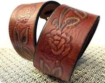 Rose Tooled Leather Dog Collar, Size M-L to fit a 17-20 Neck, Medium to Large Dog Collar, EcoFriendly Recycled Belt, Seattle Handmade, OOAK