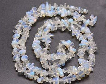 Opalite Chip Beads Clear and Milky White Opalite Gemstone Chip Spacer Beads 30 inch strand Bead Spacers
