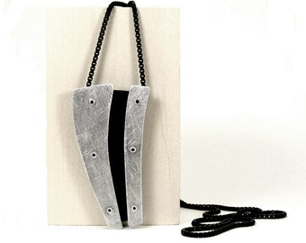 Oxidized Sterling Silver and Black Resin Riveted Pendant - Schematic