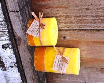 SALE: Pair of Lemon Verbena Scented Oval Pillar Candles