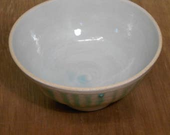 Pale turquoise Striped bowl.