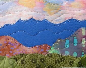 Fabric Postcard, Quilted Postcard, Textile Art, Greeting Card, Landscape Art, Mountain Landscape, Nature Postcard, Mountain Sunset