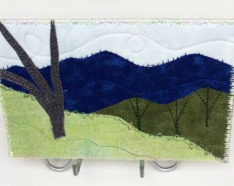 Mountain Landscape Art - Textile Art - Fabric Postcard - Quilt Art - Birthday Gift - Nature Landscape - Blue Ridge Mountains - Gift for Him