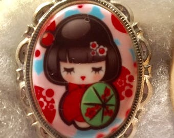 Kawaii Geshia Cameo pin set in Silver tone 30 X 40MM novelty cameo speciality cameo multi color unusual cameo