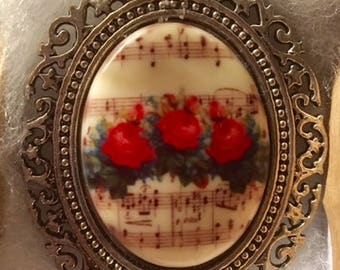 Roses and Music Score CAMEO pendant set in Fancy Antique Silver tone 30x40MM Victorian