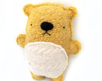 Mustard Yellow Hamster - Recycled Wool Sweater Plush Toy