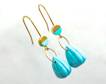 Carved Sleeping Beauty Turquoise, Simple Drop Gold fill Earrings...