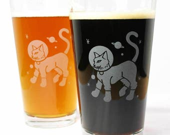Astronaut Cat Pint Glass