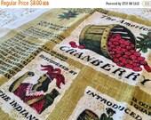 BIG SALE - Vintage Linen Towel - Cranberries Linen - Drying Towel - Cape Code Cranberry Towel