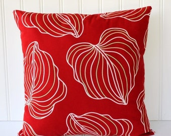 BIG SALE - Botanical Leaf Pillow - True Red with Green and Tan - White Back - Fresh Modern