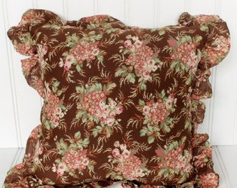 BIG SALE - Vintage Cottage Style Pillow - Shabby Chic - Pink and Green Floral - Brown 14 Inch Accent Pillow
