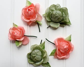 BIG SALE - Vintage Millinery Flowers - Peach and Green - Japan - Large Roses