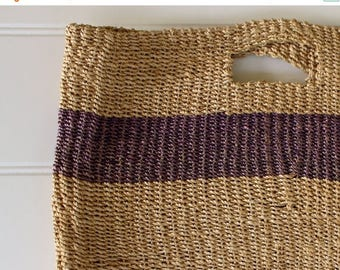 BIG SALE - Vintage Tote Bag - Esprit Straw Tote with Handle - Natural with Purple Stripe- Market Tote