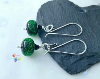 Neon Green Bubble Earrings, Sterling Silver Earrings, Lampwork Jewellery, Gift for Her, Crystal Jewelry, emerald, wife, girlfriend, sister