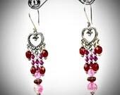 Heart Chandelier Earrings - Long Red Dangles  - Red Heart Chandeliers - Pink Fuchsia Earrings - Pink Heart Earrings - Long Pink Dangles