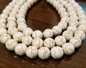 Set of 20 Natural White Howlite Beads 12MM (H7080)