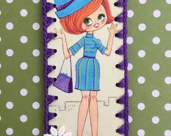 Vintage Greeting Card Book Mark / Ornament -  Groovy Lady - Purple