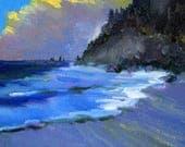 Seascape Oil Painting, Small 5x7 Canvas, Pacific Ocean Seaside, Clouds Landscape, Original Beach Scene, West Coast, Oregon Waterfront