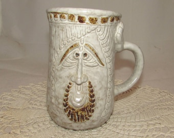 Vintage Large Pottery Face Mug Cup by Pottery Craft, 70s, Bearded Man with Arm handle, California pottery