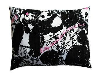 """PANDAMONIUM Panda Pillow Made from Lilly Pulitzer Fabric ~ 10""""x13"""""""