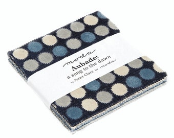 """5"""" Charm Square -  'Aubade - A Song to the Dawn'  by Janet Clare for Moda - includes 42 pieces of fabric"""