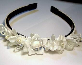 Handmade lampwork beads wedding bridal tiara/headband -white