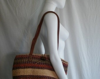SALE Woven purse Bag with Leather Straps    accessories
