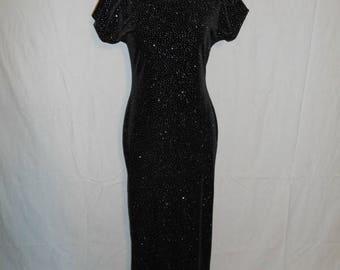 Closing Shop Sale 40% Off Vintage 90s  black velvet maxi dress, stretchy, sparkly, long dress, grunge, punk, fitted, shiny, Jump