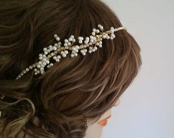 Bridal Gold Headpiece, Gold Wedding Headband, Wedding Hair Jewelry, Pearl Bridal Headband, Wedding Hair Accessories, Head Band Rhinestone