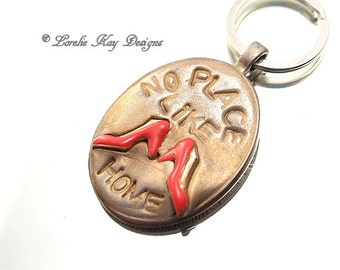 No Place Like Home Keychain Miniature Red Shoes Mixed Media Keychain Stocking Stuffer