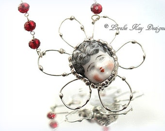 Flower Power Necklace Frozen Charlotte Doll Free Form Flower Organic Look Metal Flower Necklace
