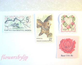 Wedding Postage Stamps Pink Flowers, Roses Heart - Owl - Cherry Blossom Stamps, Mail 20 Floral Invitations 2 oz 70 cent unused pastel stamps