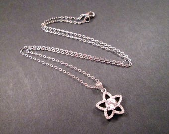 Cubic Zirconia Necklace, White Rhinestone Star Flower Pendant, Silver Chain Necklace, FREE Shipping U.S.