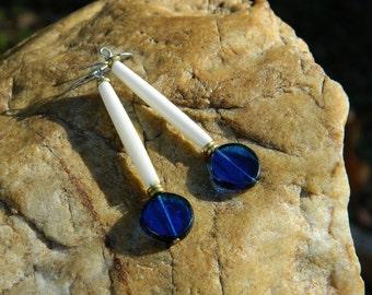 Blue Czech and Natural Bone Boho Dangle Earrings