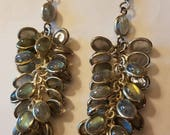 ON SALE Sterling Silver Labradorite Dangling Beads Earrings Psychic Stone