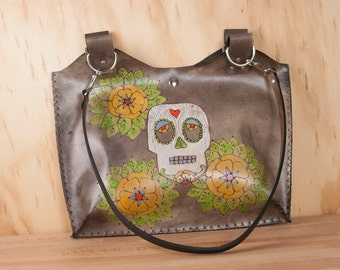 Leather Tote Bag  - Day of the Dead purse in the Walden Pattern with Sugar Skull and Flowers - White, Yellow and antique black