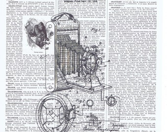 Patent.Camera.Snapshot.Original Instagram.Gift.Retro.Book Page Collage Print.Home Deco,Old School.artist.mom.dad.photographer.vintage.french