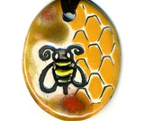 Bee Ceramic Necklace in Gold, Brown and Red