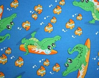 Alligator Gator Surf Cotton Woven fabric on blue 1 yard Destash Sale