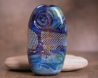Glass Focal Bead  Swirling Silver Glass in Blues Divine Spark Designs SRA