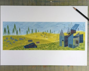 New Home, art print, landscape