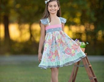 Girls Flower Dress -  Girls Floral Dress - Girls Dress - Girls Party Dress -  Girls Sundress - Girls Ruffle Dress - Girls Birthday Dress -