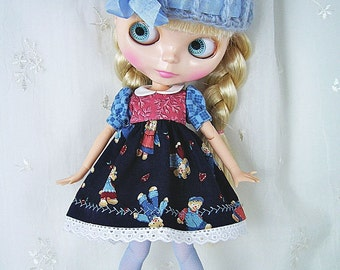 Blythe Doll Dress,  Hat, Stockings, Dress.