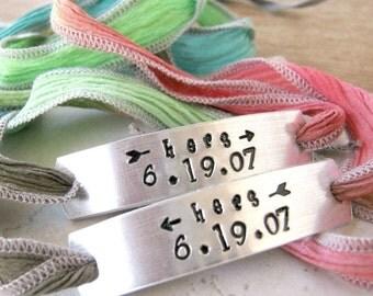 Hers and Hers Bracelets, Ribbon Wrap, Anniversary Date, Set of 2, Lesbian Bracelets, Lesbian Anniversary, Lesbian Valentine, read listing