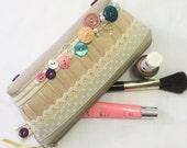 Christmas Special Offer Polka Dot and Vintage Button Make-up Bag, Beauty Bag, Cosmetics Bag
