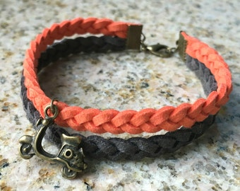Modern Unisex Faux Suede Cord Braided Bracelet with Scooter Charm - Orange / Dark Gray - Antique Brass